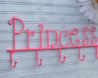 Pink Princess Wall Rack. Nursery Decor. Princess Decor. Little Girls Room Decor. Princess Wall Decor. Princess Jewelry Rack. Princess Hook.