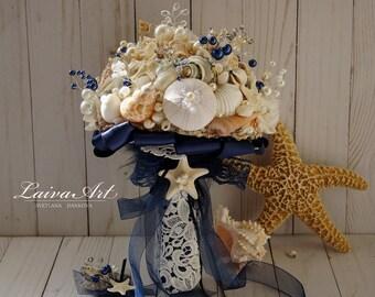 Nautica Wedding Beach Shell Bouquet Starfish Bouquet Beach Wedding Bouquet Seashell Wedding Bouquet Boutonniere