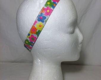 HeadBand-it Adjustable No Slip Headband Flowers and Stripes