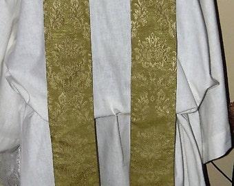 Green Dupioni Silk Damask Clergy Stole  Traditional Priest Vestment Anglican Catholic Lutheran Methodist Episcopalian