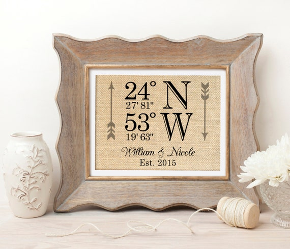 Latitude Longitude Wedding Gift Wedding Coordinates Sign