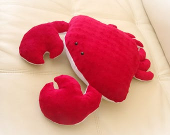 Crab Pillow, Toy Pillow, 3D Pillow, Stuffed Animal, Nautical Decor, Beach House Decor