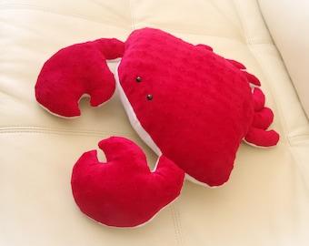 Crab Pillow, Toy Pillow, 3D Pillow, Stuffed Animal, Nautical Decor, Beach House Decor
