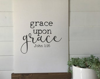 grace upon grace/john 1:16/wall art/canvas print/laurel wreath/canvas wall art/wall decor
