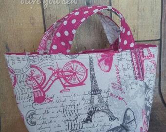 Reversible Bible Tote, Scripture bag, book bag, small purse- Pink Paris