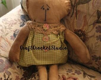 "E-Pattern 15"" Primitive Rag Doll Baby Sewing Pattern"