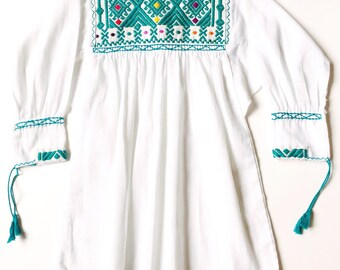 Andi Blouse / White Toddler Top / Embroidered White Toddler Top / Mexican Toddler Blouse / 3T Toddler Top / Mexican Embroidered Top