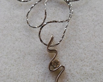 charm necklace zigzag lightning embedded charm silver plated necklace