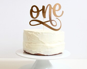 Age One gold Cake Topper. 6 inches. Birthday Party.