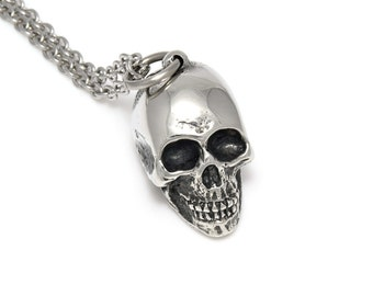 Handmade Human Skull Necklace, Pewter Pendant on Stainless Steel Chain
