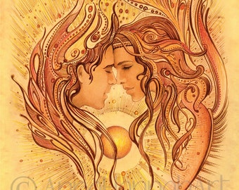 love angels intimacy magical woman man couple protection sphere erotic art valentine wedding romantic spiritual marriage gift kiss drawing