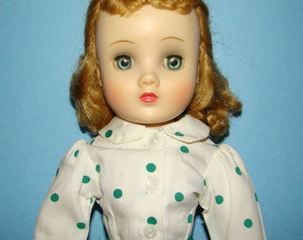 1950s Madame Alexander HP Elise Doll 15 Inch Green Taffeta Street Dress Outfit
