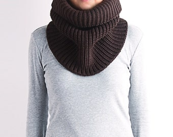Knit cowl scarf, knit cowl, chunky knit cowl, wool knit cowl,loop scarf, black knit cowl, knitted loop scarf, knitted cowl, brown knit cowl