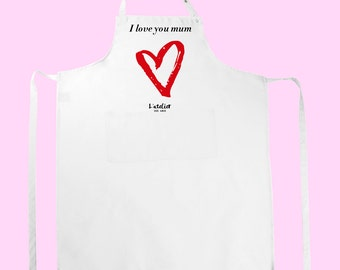 T2W apron love mum, customizable apron, apron for MOM, mothers, mother to great gift, gift for Christmas day gift
