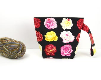 Rose project bag for knitting, zipperless crochet storage bag, floral snap knitting bag