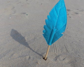 Blue Felt Quill FEATHER Pencil Topper, Blue Feather, Vegan