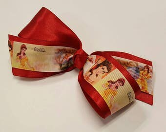 Princess Belle Hair Bow - Beauty and the Beast Hair Bow