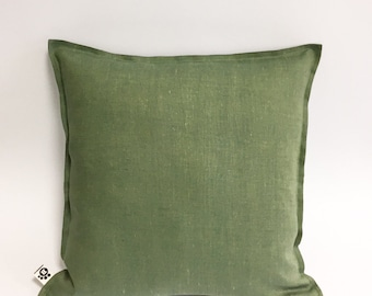 Natural Flax Linen Handmade Decorative Green Pillow Cover . Throw pillow cover. Sham. Cushion cover. Greenery to Your Home. 16 x 16 inches