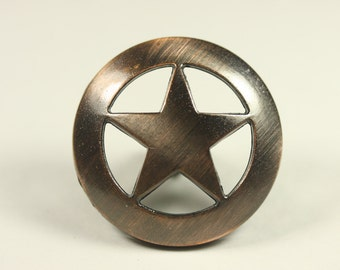 Western Style Star Knob - Antique Copper