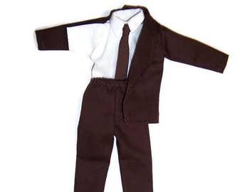 Male Fashion Doll Clothes-Brown Jacket,Pants & Tie -White Shirt