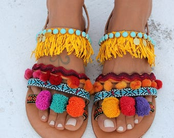 "Pom pom Sandals, Greek leather sandals, Boho chic sandals, Colorful pom poms ""Dominicana"""