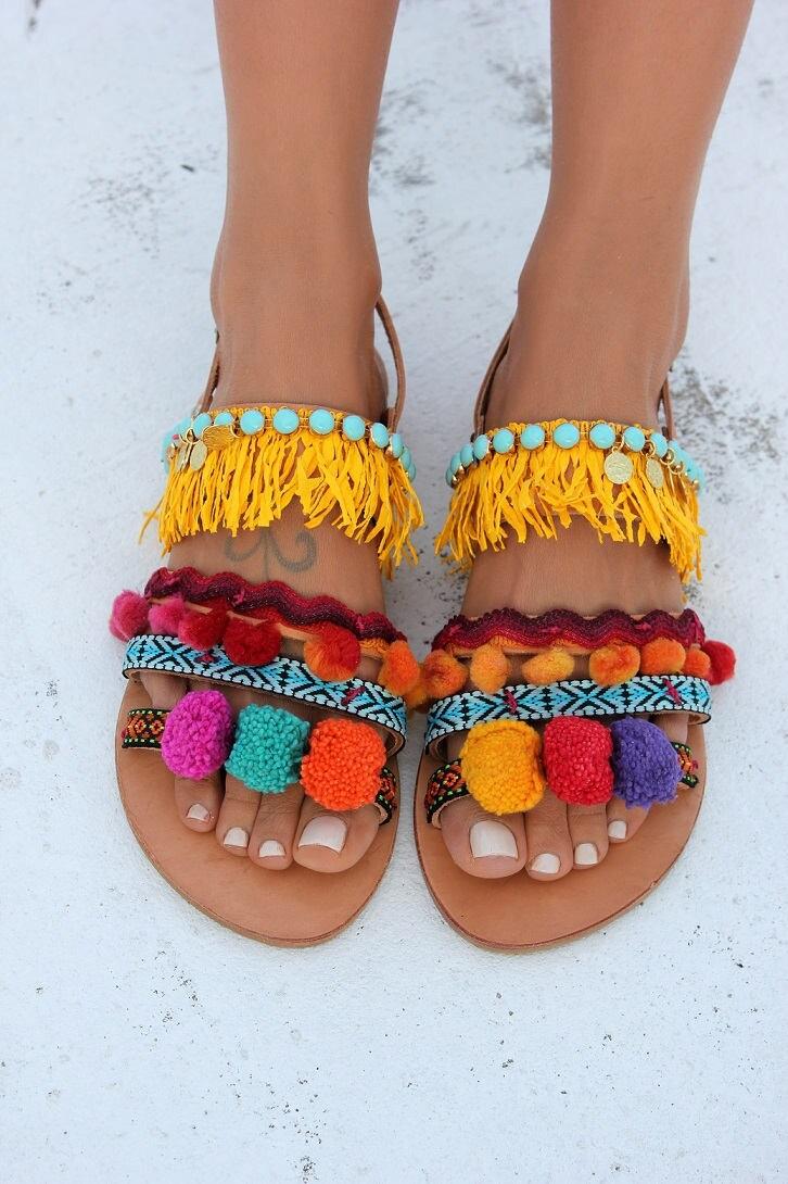 Pom Pom Sandals Greek Leather Sandals Boho Chic Sandals
