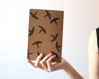 Handmade notebook, kraft notebook, stamped notebook, swallows notebook, swallows journal, made in barcelona, minimal notebook, handcrafted