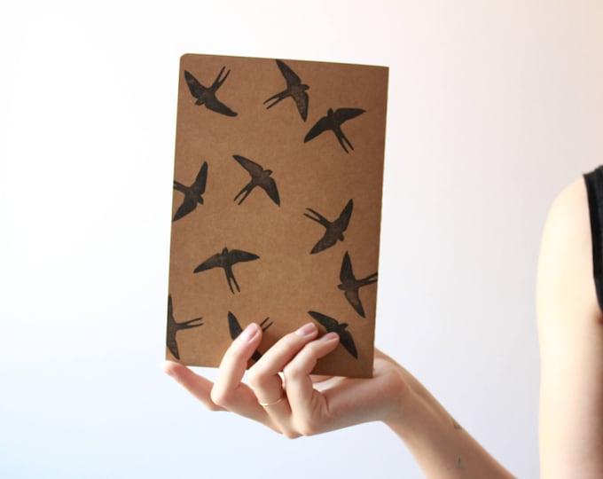 Handmade notebook, kraft notebook, stamped notebook, swallows notebook, swallows journal, made in barcelona, minimal notebook, handcrafted