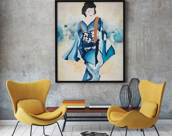 Asian Art Large Original Oil Painting On Canvas. Blue Geisha. 36x48 Blue