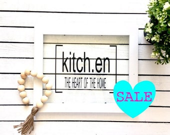 SALE Kitchen The Heart Of the Home Framed Glass Sign, Vinyl Glass Frame Sign, Kitchen Decor, Hanging Glass Sign, Glass Sign, Farmhouse Sign