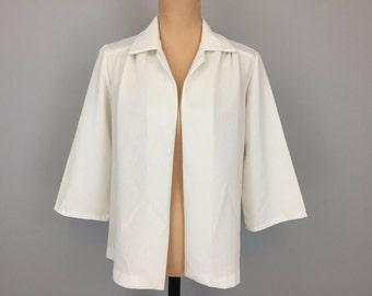 White Jacket White Blazer 80s Jacket Minimalist Clothing Hipster Jacket 3/4 Sleeve 1980s Clothing Large Jacket XL Womens Vintage Clothing