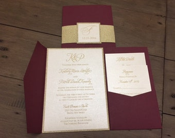 Burgundy Wedding Invitation, Burgundy and Gold Glitter Pocket Wedding Invitation, Pocket Invitations, Marsala Invitation, Wine Invitation