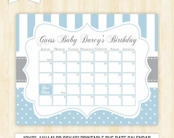 guess the date boy printable due date calendar blue baby shower birthday guess game sign baby shower game baby shower calendar 106