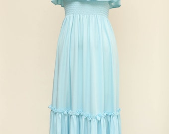 sky blue maxi dress vintage 1970s