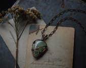 verso • prehnite necklace - green crystal necklace - crystal copper necklace - witch jewelry - nordic jewelry - prophecy stone