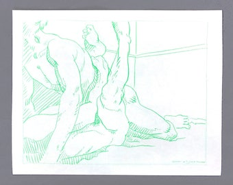 """Hot Corner - 9x12"""" original colored pencil drawing on paper OOAK gay men sexual wrestling suggested nudity naked body love couples"""