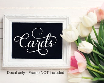 Cards Decal Wedding Vinyl Decal Wedding Chalkboard Decal Reception Table Wedding Shower Wedding Sign Decal Bridal Shower Wedding Reception