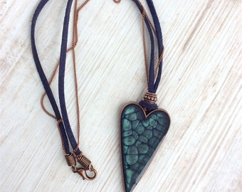 Large Heart Necklace. Cord Necklace. Blue Heart. Resin Heart. Blue Jewellery. Blue Necklace. Gift for Wife. Copper Necklace. Resin Jewellery