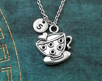 Tea Cup Necklace SMALL Tea Cup Charm Necklace Teacup Necklace Tea Necklace Tea Jewelry Heart Tea Cup Pendant Necklace Tea Lover Gift British