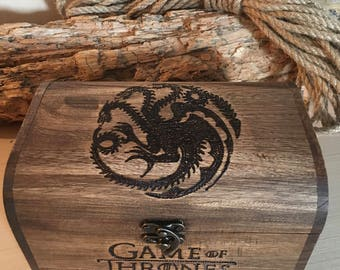 Game of Thrones inspired chest, game of thrones fan, targaryen house, fire and blood, GOT