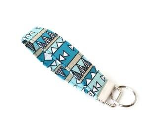 Tribal Key Fob, Tribal Keychain, Tribal Key Chain, Tribal Wristlet, Aztec Key Fob, Aztec Keychain, Aztec Wristlet, Teal Keychain, Under 10