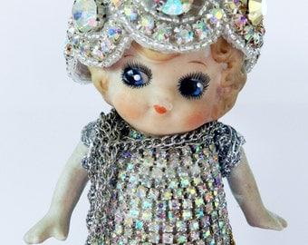 Frozen Charlotte Doll Altered Art-Rhinestones-Mothers Day-OOAK-Dresser Trinket-Vintage Doll-Porcelain Doll Gift-Bathroom Decor-BFF Gift