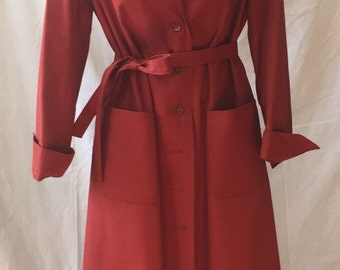 Vintage 70s Rust Belted Trench Coat