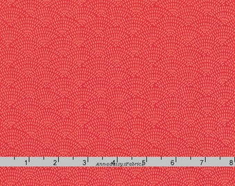 Tone on Tone Coral Scallop Fabric, Timeless Treasures You Are Magical C5100 Coral Dash Scallop, Coral Scallop Quilt Blender Fabric, Cotton