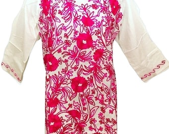 Women 100% Cotton Tunic dress Kurti Kurta top all over pink hand Embroidered ethnic indian Boho bohemian Sz XL White.