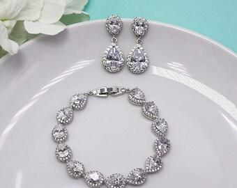 Teardrop Earrings Set, Wedding Bracelet Set, Earrings Bracelet Set, Bridal Jewelry, Jewelry for Bride, Halo Bracelet, Earrings Set 500223558