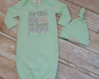 Mint Green Newborn Gown with For this little Girl We Have Prayed/ Embroidered/ Personalized Name Matching Knot Hat Set