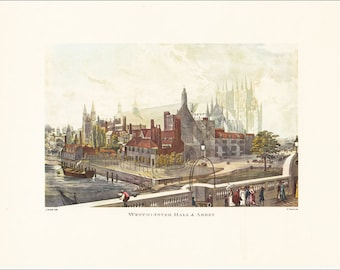 London Westminster Hall and Abbey victorian art city architecture Great Britain vintage print coloured colored engraving 7 x 9.25 inches