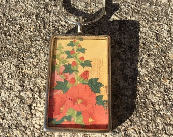 Hollyhocks resin pendant necklace