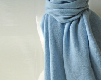 Lambswool Scarf /Wrap - Handcrafted in Greenwich London with British Spun Wool - Colour Ice Blue